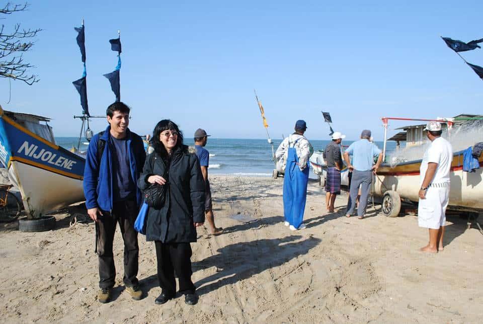 Marta Piñeiro de APA Madryn y Francisco Araos de CEDESUS, juntos en las actividades a las que los convocó la Red Global